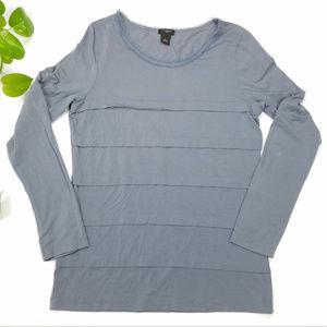 Ann Taylor Grey Long Sleeve Ruffle Shirt Sz L